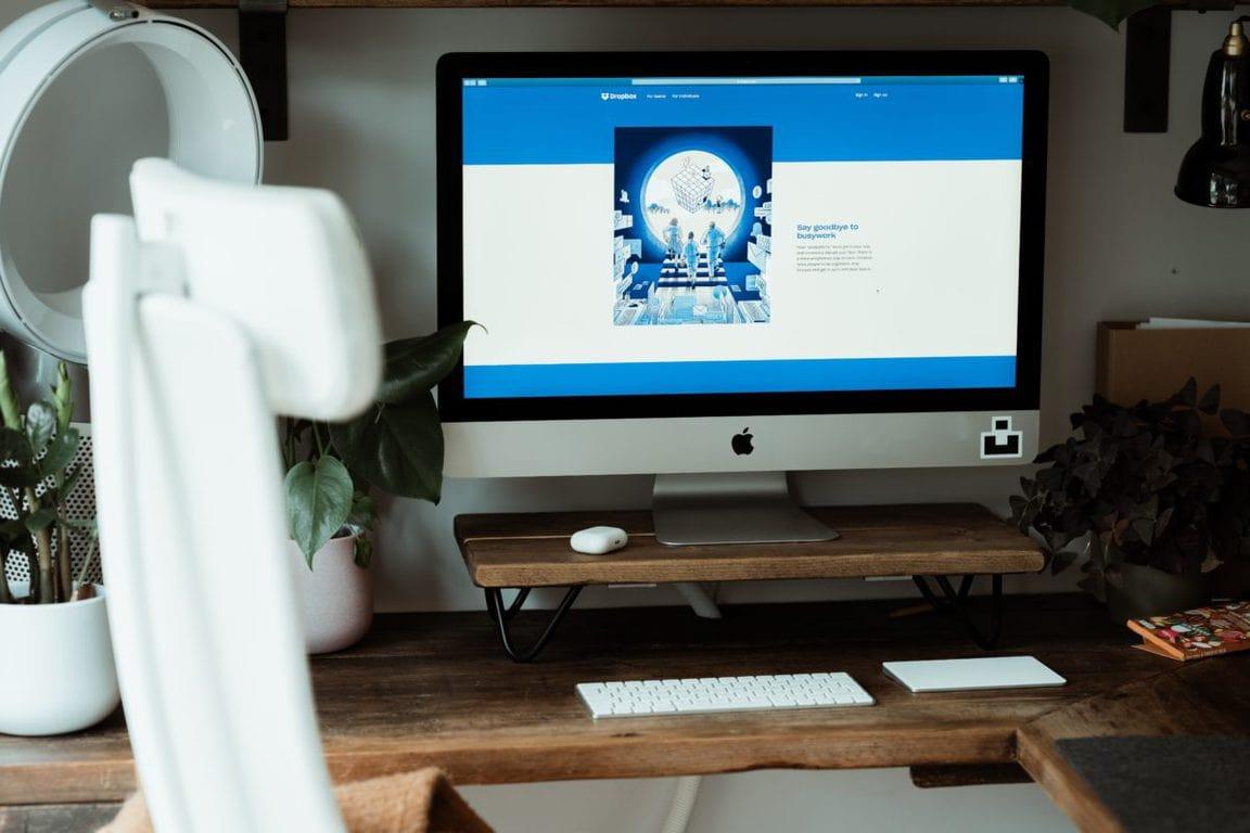 Dropbox website on iMac in home office