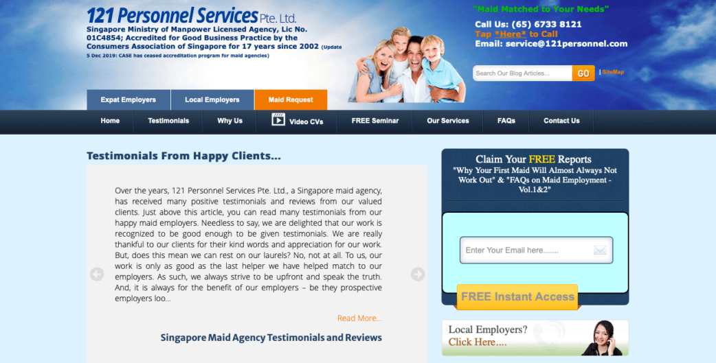 121 personnel services - best maid agencies in singapore