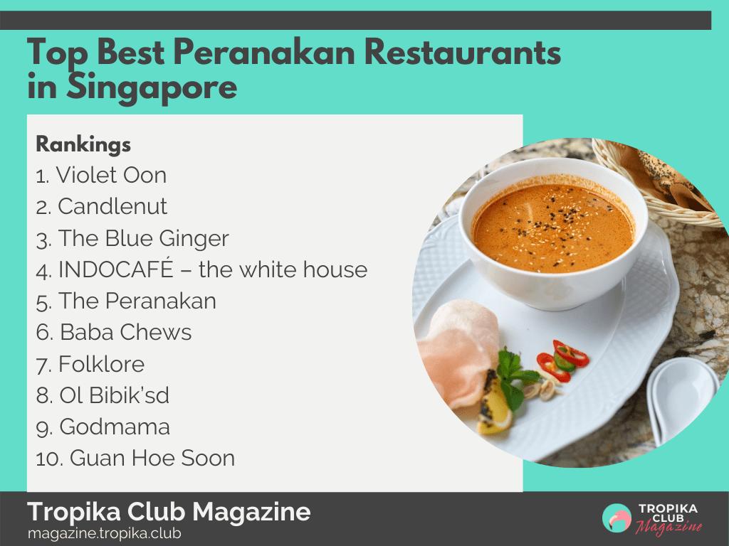 Top Best Peranakan Restaurants in Singapore