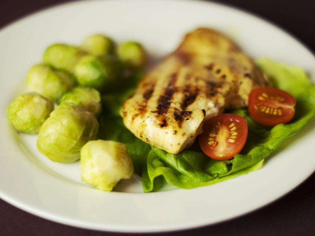 chicken, brussels sprouts, tomatoes